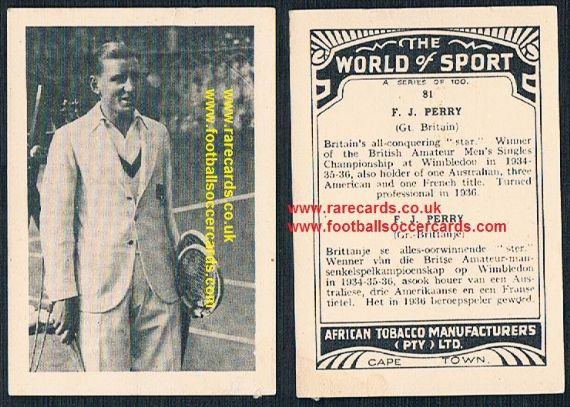 1930's South African Tobacco Cape Town World of Sport tennis card Fred Perry 81